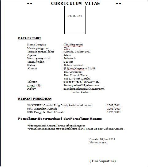 Contoh Surat Lamaran Kerja 2011