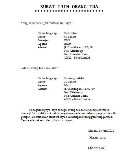 Contoh Surat Ijin Orang Tua