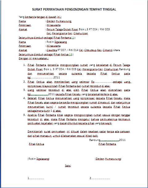 Contoh Surat Pernyataan Pengosongan Tempat Tinggal Rumah Anekacontoh