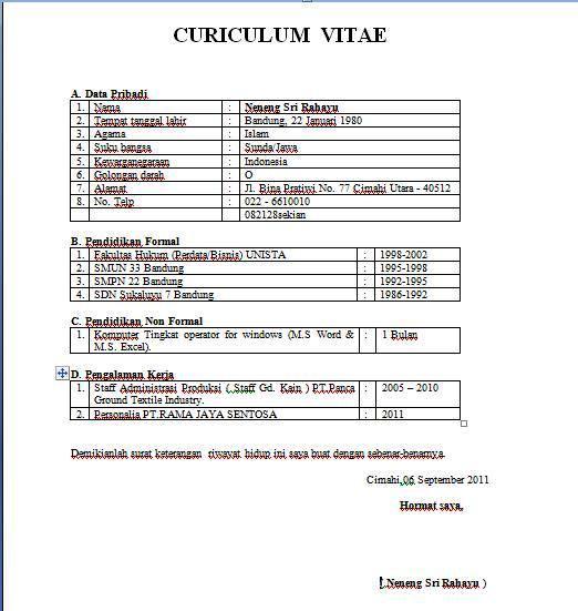 Contoh Curriculum Vitae Bahasa Inggris Format Word Writing A Good
