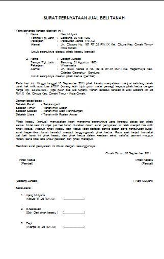 Contoh Surat Pernyataan Jual Beli Tanah Anekacontoh