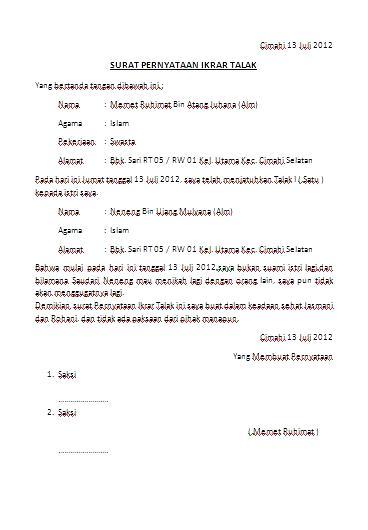 Contoh Surat Pernyataan Ikrar Talak Anekacontoh
