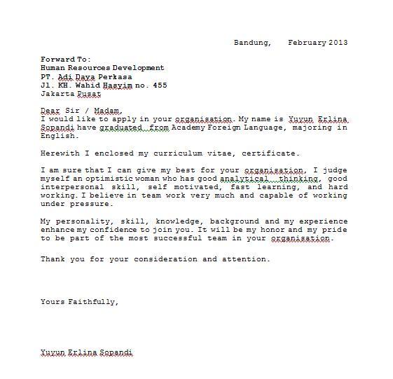Surat ini saya pinta dari sumbernya (orang yang kompeten dalam English ...