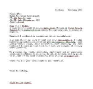 Contoh Surat Lamaran Kerja Dalam Bahasa Inggris   anekacontoh